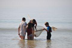 La pêche à la crevette amuse les enfants comme les grands