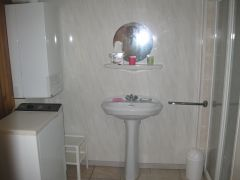 salle d'eau avec douche et lave-linge
