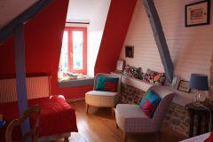 La chambre Bleu vallée de la Maison d'hôtes de la Porte Saint-Michel à Béchrel