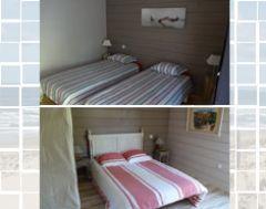 photo du haut chambre rez de chaussée et photo du bas chambre de l'étage