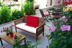 Le jardin, réservé aux clients de l'hôtel