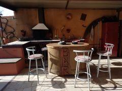 bar extérieur, barbecue terrasse couverte